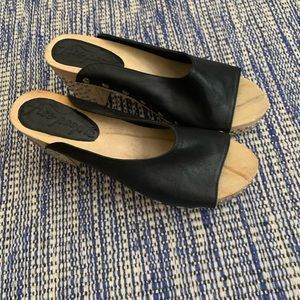 Free People black leather studded sandals size 8